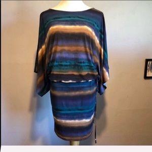 ABI FERRIN Blue & Brown Stripe Bell Sleeve Dress-M